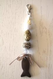 handgemaakte tas-/sleutelhanger bruin/beige/wit