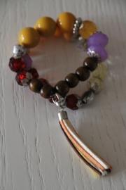 armband okergeel/paars/bruin/rood