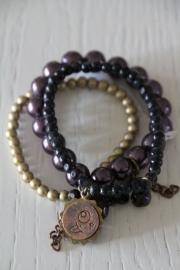 armband zwart/goud/paars