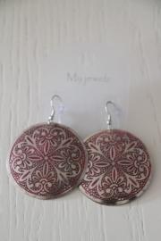 oorbellen zilverkleurig/roze