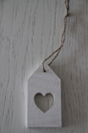 Hanger label hart, wit