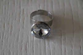 ring met steen zilverkleurig