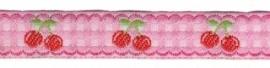 sierband roze/wit geruit met kersjes