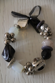 armband zwart/wit/zilver