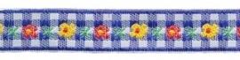 geruit blauw/wit band met bloemetjes