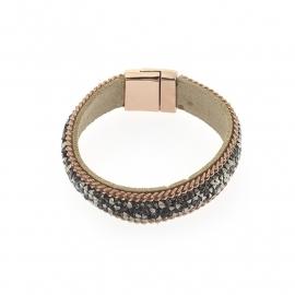 Biba armband rosegoud, grijze steentjes