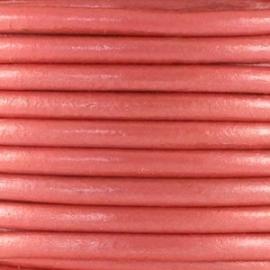 Leer rond 2 mm roze rood metallic