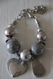 armband zilver/keramiek grijs