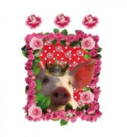 plastisol transfer  `varkentje met roosjes`