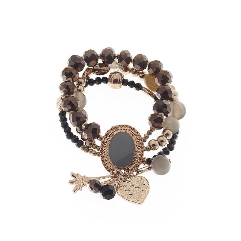 Biba armband bruin/zwart/grijs/rose