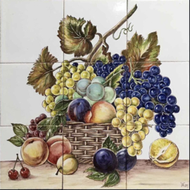 Wandtegeltableau Fructus Lusitaniae (Portugese vruchten) (9 x 14x14cm)
