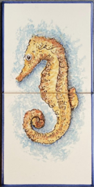 Tegel Zeepaard (Hippocampus) - 2 (2 x 15x15cm)