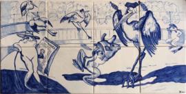 Wandtegeltableau A festa dos animais (Het dierenfeest) (8 x 14x14cm)
