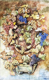 Wandtegeltableau Vindimas (druivenoogst) (40 x 14x14cm)