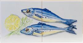 Wandtegeltableau Arenques / serie visjes (2 x 15x15cm)