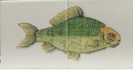 Wandtegeltableau Dourado / serie visjes (2 x 15x15cm)