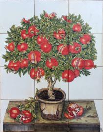 Wandtegeltableau Punica granatum (Granaatappelboom) (12 x 14x14cm)
