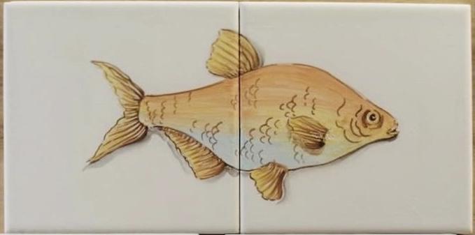 Wandtegeltableau Mero / serie visjes (2 x 15x15cm)