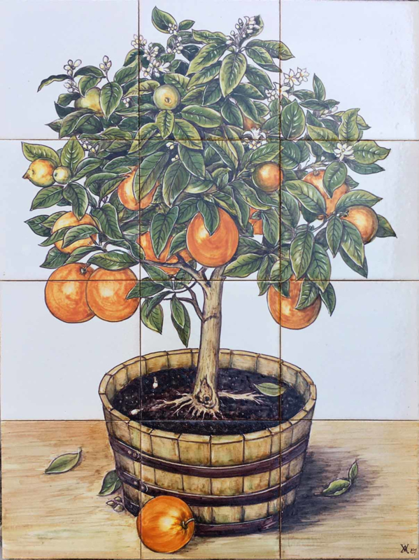 Wandtegeltableau Citrus sinensis (sinaasappelboom) (12 x 14x14cm)