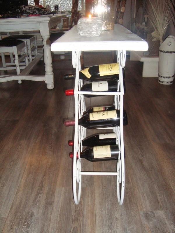Tafeltje Met Wijnrek.Brocante Landelijke Stijl Wijnrek Tafeltje Sidetable In