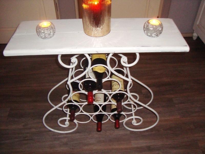 Brocante landelijke stijl wijnrek-tafeltje sidetable in white-oldlook  artikelnr: 1039