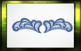 Applicatie set L+R / blauw met glittertjes