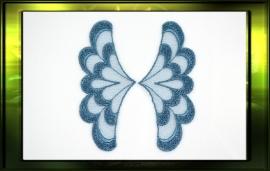 "Applicatie ""Wings"" set L+R / blauw groenig"