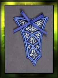 "Klein ""Corsetje"" donker blauw met strikje"