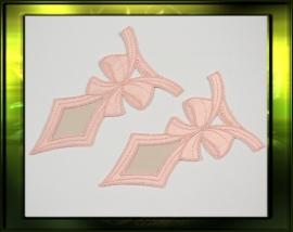 "Satijn applicatie ""Pink Bow""/ zacht roze"