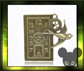 Bronze steampunk hanger / klokje met vogel