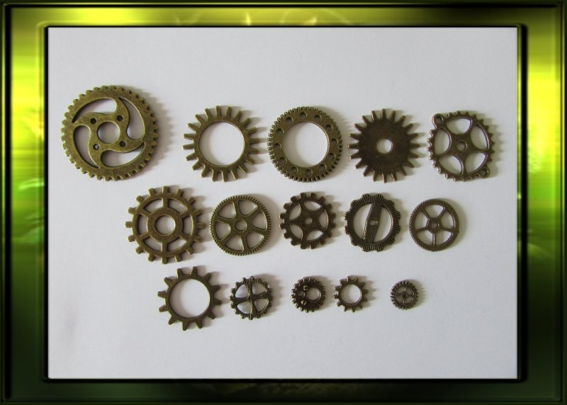 Bronze steampunk gears set / medium nr.1