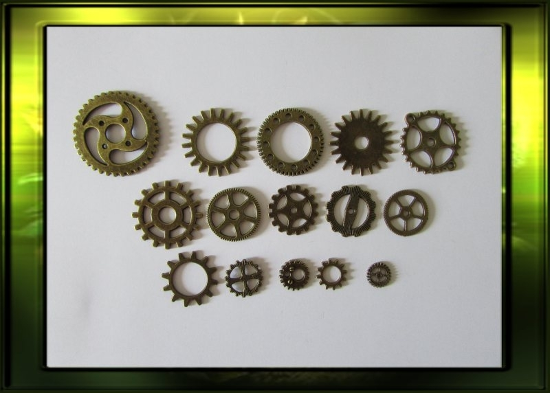 Bronze steampunk gears set / medium nr.2