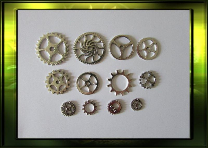 Zilver steampunk gears set/ medium nr 1