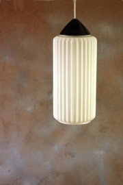 Twee geribbelde glazen ganglampen `60 / Two ribbed glass hallway lamps 60. [sold]