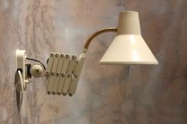 Ivoorwitte schaarlamp `60 / Ivorywhite extendable wall lamp `60 [verkocht]