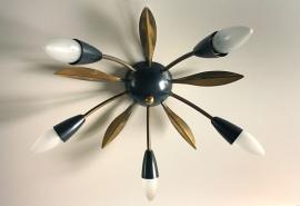 """5 Ster"" vintage plafond lamp / ""5 Star"" vintage ceiling lamp [verkocht]"