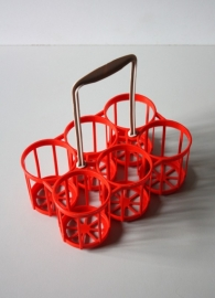 Klein flessenmandje rood / Smalle red bottle basket [sold]