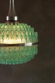 Hippe belgische turquoise hanglamp `70 / Trendy Belgian turquoise pendant lamp ` 70 [verkocht]