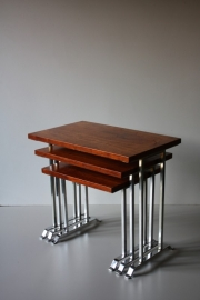 Mimi tafelsetje hout chrome / Mimi tables wood chrome (verkocht)