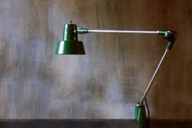 Groene industriële vintage lamp / Green industrial vintage lamp          (verkocht)