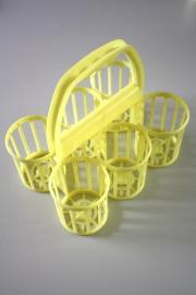 Flessenmandje lichtgeel fifties / Bottle basket pale yellow fifties [verkocht]