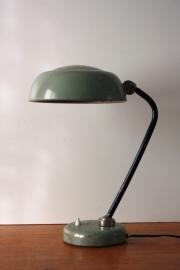 Industriële grijsgroene bureaulamp / Industrial grey green desk lamp [verkocht ]