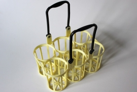 Flessenrek pastelgeel / Bottle rack pastel yellow [verkocht]