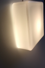 Matglazen vierkante vintage lamp / Vintage frosted glass square lamp