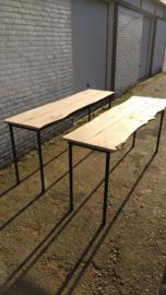 Industriële tafels met boomstamdelen [sold]