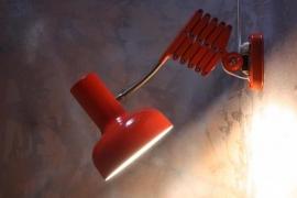 Schaarlamp rood vintage / Scissor lamp vintage [verkocht ]
