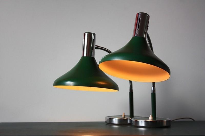 2 Groene vintage Bureaulampen / 2 Green vintage desk lamps [verkocht]