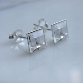 zilveren vierkante kristallen oorknopjes