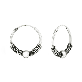 silver Bali creoles earrings 18 mm