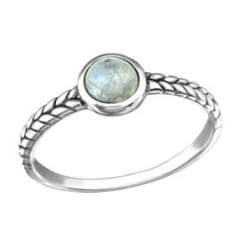 zilveren gevlochten ring met Maansteen